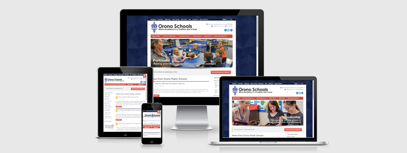 The Orono Schools website as viewed on different devices