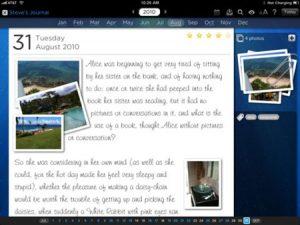 screenshot of a ipad journal app
